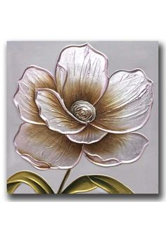 Discover thousands of images about In a subtle cream colour way, this flower has a hand paint effect and a crackle and foil detail to enhance the floral design. A very easy to co-ordinate. Texture Painting, Fabric Painting, Canvas Wall Decor, Canvas Art, Hot Glue Art, Pewter Art, Clay Wall Art, Sculpture Painting, Abstract Flowers