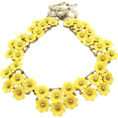 Vintage Molded Plastic Yellow Flower Choker Necklace