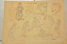 Uderzo, Albert - Original model sheet film - Jules Cesar - Astérix et Cléopâtre…