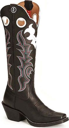 Tony Lama (Ranching-Roping-Riding) Buckaroo Boots in Black. These boots are awesome, most comfy cowboy boots ever. My first square-toes and I love them. Black Cowgirl Boots, Custom Cowboy Boots, Womens Cowgirl Boots, Custom Boots, Western Wear, Western Boots, Cowboy Boot Store, Buckaroo Boots, Dream Shoes