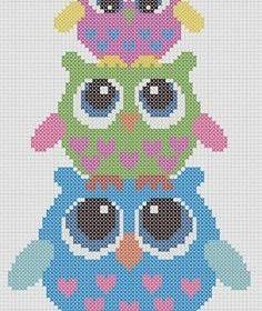 Owls Cross Hama perler pattern