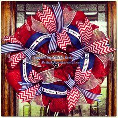 Houston Texans football chevron and stripes deco mesh wreath