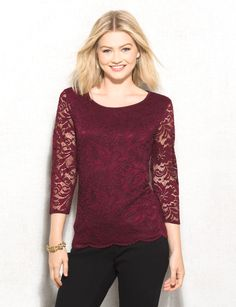 There's something about lace that makes any look more refined. When you want to be a little more elegant, pair this top with your go-to work pant and instantly give your look an upgrade. Take it to the next level with a statement necklace. Imported.