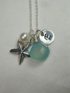 Beach Theme: Handstamped Initial, Freshwater Pearl, Starfish Charm, Chalcedony Gemstone (Custom Color)