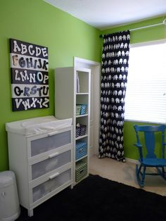 Black, White, and Green Nursery (blue accents if it's a boy...pink if it's a girl)