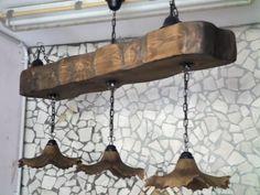 Lampadario Antico In Legno : Antico lampadario in legno rivisitato in stile shabby il