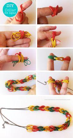 Collar de ligas. Rubber bands necklace http://manualidades.euroresidentes.com/2014/07/como-hacer-un-collar-con-gomas-de.html
