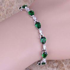 Fancy Green Created Emerald White Topaz 925 Sterling Silver  Link Chain Bracelet 6.5 - 7.5 inch  S0591