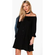 Boohoo Fiona Off Shoulder Choker Shift Dress (635 CZK) ❤ liked on Polyvore featuring dresses, black, special occasion dresses, off the shoulder bodycon dress, off shoulder dress, bodycon dress and off shoulder evening dress