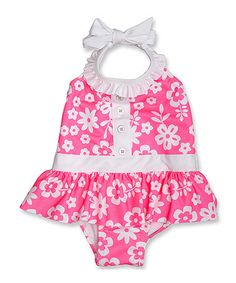 This White & Pink Floral Ruffle One-Piece - Infant & Toddler by Penelope Mack is perfect! #zulilyfinds