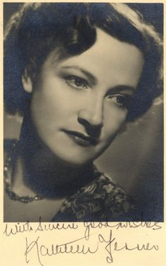 FERRIER KATHLEEN: (1912-1953) English Singer. A good, rare vintage signed postcard photograph of Ferrier in a close-up head and shoulders pose. Signed in fountain pen ink to the lower white border and with an additional holograph note to the verso, in part, 'It gives me the greatest pleasure to know that my singing helps you and I am most grateful to you for writing to tell me so'. Signed photographs of Ferrier are rare as a result of her untimely death at the age of 41.