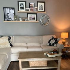 Kaitlynn Hendricks added a photo of their purchase Living Room Photos, Home Living Room, Living Room Designs, Living Room Decor, Living Room Wall Decor Ideas Above Couch, Shelves Over Couch, Living Room Shelves, Shelving Behind Couch, Wood Shelves