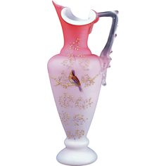 Victorian peach blow cased glass ewer shaped vase with painting of a bird and branches late 19th century
