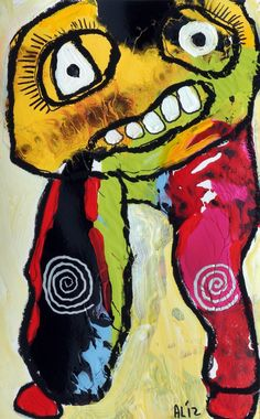 original LABEDZKI abstract painting outsider art COOKIE MONSTER 5x8 in on paper | eBay