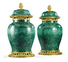 A pair of gilt-bronze-mounted malachite veneered vases and covers in Louis XV style, each with a domed cover with foliate finial above a rocaille cast pierced neck above a baluster body on a pierced foliate, rocaille and scallop shell cast base Home Decor Accessories, Decorative Accessories, Decorative Vases, Glass Ceramic, Ceramic Art, Vases Decor, Art Decor, Blue Table Lamp, Green Palette