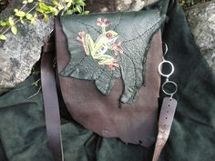 Treehopper. Leather messenger bag with tree frog. All handmade.