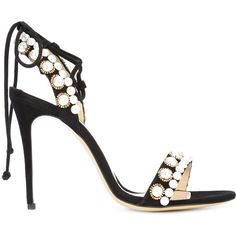 Monique Lhuillier pearl detail stiletto sandals ($895) ❤ liked on Polyvore featuring shoes, sandals, black, stiletto high heel shoes, black sandals, real leather shoes, stiletto heel sandals and heels stilettos