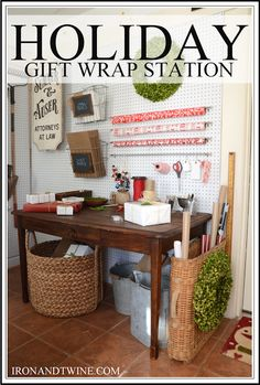 holiday gift wrap station - the handmade home