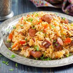 Cajun Chicken and Sausage Jambalaya : Recipes : Cooking Channel Recipe . Cooking Channel serves up this Cajun Chicken and Sausage Jambalaya recipe plus many Andouille Sausage Recipes, Chicken And Sausage Jambalaya, Jambalaya Rice, Mexican Food Recipes, Dinner Recipes, Spicy Rice, Arroz Frito, Cooking Recipes, Healthy Recipes