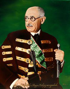 Széki gróf Teleki Pál, a Magyar Királyság miniszterelnökének portréja 40x50 cm-es olajfestmény