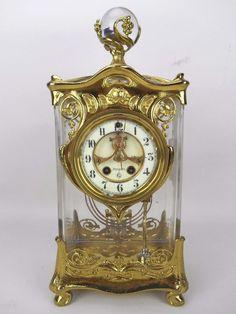Extremly Rare Antique Gilbert Art Nouveau Crystal Regulator Mantle Clock