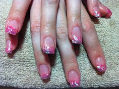 Acrylic nails with light pink big hex glitter tips