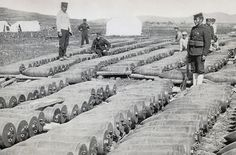Five-hundred-pound Japanese artillery shells waiting to be hurled into Port Arthur, Russo-Japanese War (日露戦争).