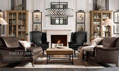 Rooms | Restoration Hardware; natural history museum style with deep couches!