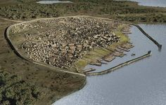 Haithabu near Denmark. Re-creation of the Viking Village- one of the largest merchant towns of the viking age