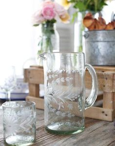 Clear Tall Glass Pitcher
