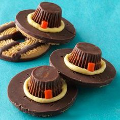 Pilgrim Hat Cookies- You'll want to join the kids' table after checking out these Thanksgiving treats! Have a little fun with your holiday desserts and make these turkey- and pilgrim-shaped cookies, cakes and more. Thanksgiving Cookies, Thanksgiving Recipes, Fall Recipes, Holiday Recipes, Thanksgiving Sides, Happy Thanksgiving, Thanksgiving Activities, Pumpkin Recipes, Holiday Desserts