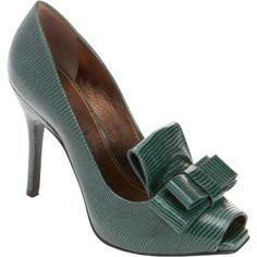 Lanvin Peep Toe Bow Loafer Pump, Green, ht