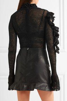 Magda Butrym - Boa Ruffled Open-knit Cotton-blend Bodysuit - Black - FR34
