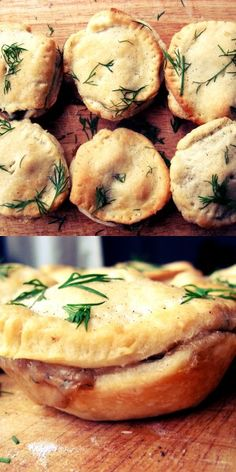 Tofu and Mushroom Mini-Pies - Vegan and SO delicious! Obviously would replace with a meat filling!!!