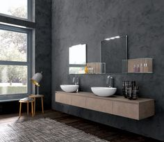 Double washbasin cabinet / contemporary / in wood / wall-hung TULLE 2 ARCHEDA