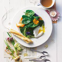 Schön mild und die Blätter zart: Junger Blattspinat macht sich prima als Salat. Grünen Spargel, Möhren und Wildkräuter dazu - und das pochierte Ei, ein Klassiker, den man viel zu selten genießt. Foto: Thomas Neckermann