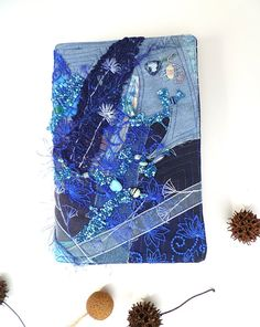 Blue fantasy unique fiber art collage journal / by Cesart64