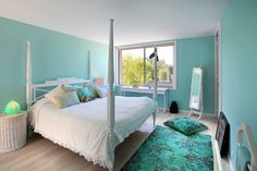 Beautiful light blue themed bedroom. By ROSA PURA HOME STORE