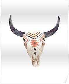 'Boho skull' Poster by Kowhaililly Deer Skull Art, Cow Skull Decor, Painted Animal Skulls, Euro Mounts, Painted Antlers, Ethno Style, Antler Art, Bull Horns, Bull Skulls