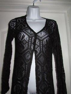 Vintage Jalate Dark Brown Crochet Lace Cardigan Sweater Top Size Medium #Jalate #Cardigan #vintage #lacecrochet #semisheer #dandeepop Find me at dandeepop.com