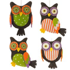 """RAZ Owl Ornament Set of 4  Assorted Owl Ornaments Set includes one of each style Multicolored, decorated with stripes and polka dots Made of Polyester Measures 6""""  RAZ 2015 Halloween"""
