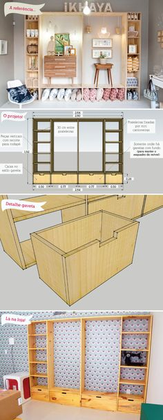 andamento da lojinha e os projetos dos móveis maybe with just the side shelves going up.window in the middle.maybe with just the side shelves going up.window in the middle. Architecture 3d, Simple Closet, Diy Casa, Crate Shelves, Ideias Diy, Store Design, Home Organization, Diy Furniture, Home Decor Ideas
