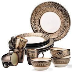 Gourmet Basics By Mikasa® Luciana 16-Piece Collection DESCRIPTION An Avon Exclusive! The Gourmet Basics by Mikasa Luciana complete collection, a unique twist of mocha prints with embossed white dots, straight lines, and infinity loops. Guests will be mesmerized by the unique, eclectic presentation of the stoneware.   FEATURES • Dishwasher safe • Microwave safe  MATERIALS • Stoneware  CARE • Dishwasher safe  Need more? -- Shop the entire Luciana Collection individually: Gourmet Basi