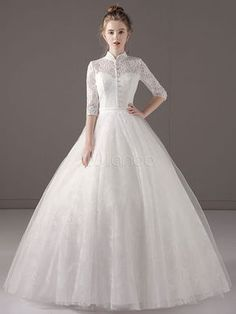 Princess Wedding Dresses Ball Gown Ivory Half Sleeve High Collar Lace Tulle Keyhole Floor Length Bridal Dress part mariage mariage boheme champetre champetre deco deco robe romantique decorations dresses hairstyles Luxury Wedding Dress, Princess Wedding Dresses, Modest Wedding Dresses, Wedding Dress Styles, Perfect Wedding Dress, Bridal Dresses, Bridesmaid Gowns, Glamorous Wedding, Trendy Wedding
