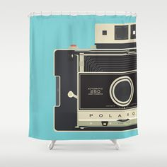 Vintage Polaroid 250 Shower Curtain by Love Paint UK - $68.00- @Society6 - @HomeArtyHome Home Arty Home