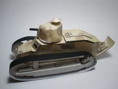 Plumber_Story constructed a 1/28 Scale model of the Renault FT-17 out of a shoebox and camouflage paper.