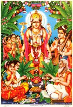 India Hindu God poster Satyanarayan Pooja by S S Brijbasi Hanuman Images, Durga Images, Lakshmi Images, Krishna Images, Lord Vishnu, Lord Ganesha, Kali Hindu, Lord Shiva Family, Lord Krishna Wallpapers