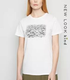 Shop White Daisy Print Wildflower Slogan T-Shirt. Discover the latest trends at New Look. White Cosmo, White Flamingo, Celebrity Names, Lace Print, Rock T Shirts, White Shop, New Look, Black Tops, Organic Cotton