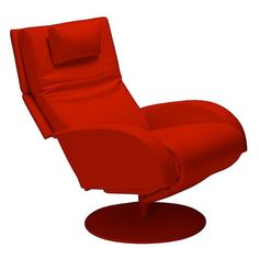 The Nicole Recliner Chair by Lafer is a leather recliner with a one-leg full swivel leather base. Click picture for more information. #armchair #chair #furniture #modernfurniture #leatherchair #recliner