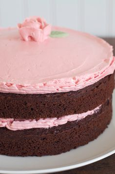 Old Fashioned Chocolate Tomboy Cake with Raspberry Buttercream from Miette Bakery Cookbook.